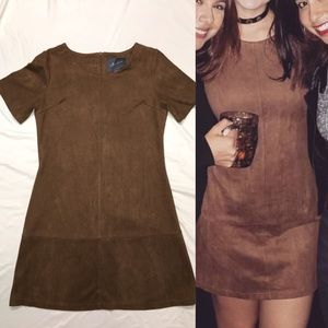 Brown Suede Mini Dress